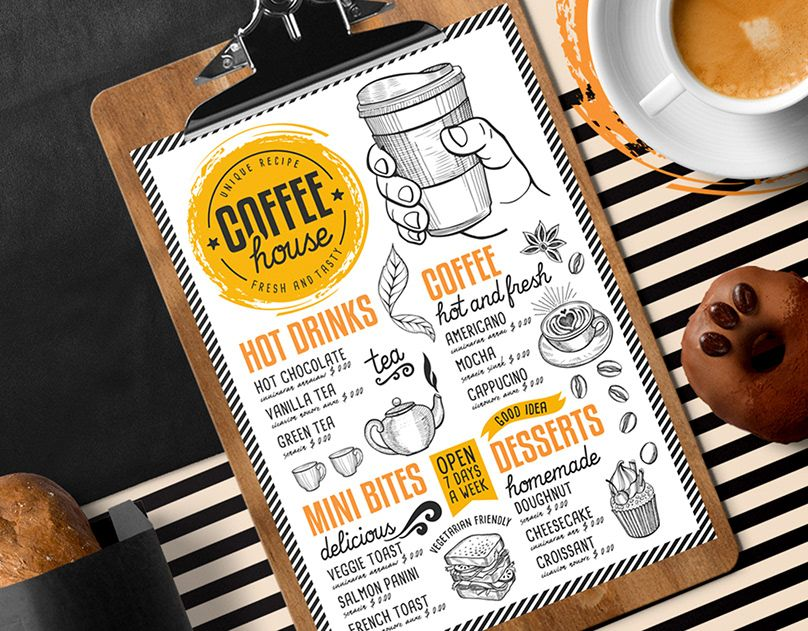 Free Food Menu on Behance Coffee menu, Menu template