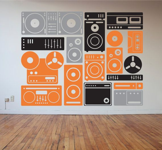 Music Boombox Speakers And Music Equipment Wall Decal Collection - Custom vinyl wall decals circles