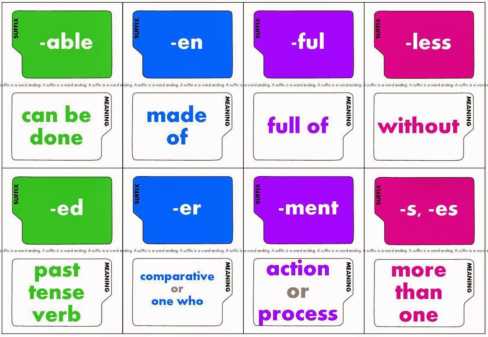 Free Printable Super Suffixes Game This Game Helps