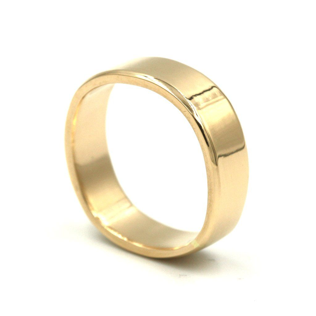 Mens Gold Band Wedding Ring Gold bands Wide band rings and Shapes