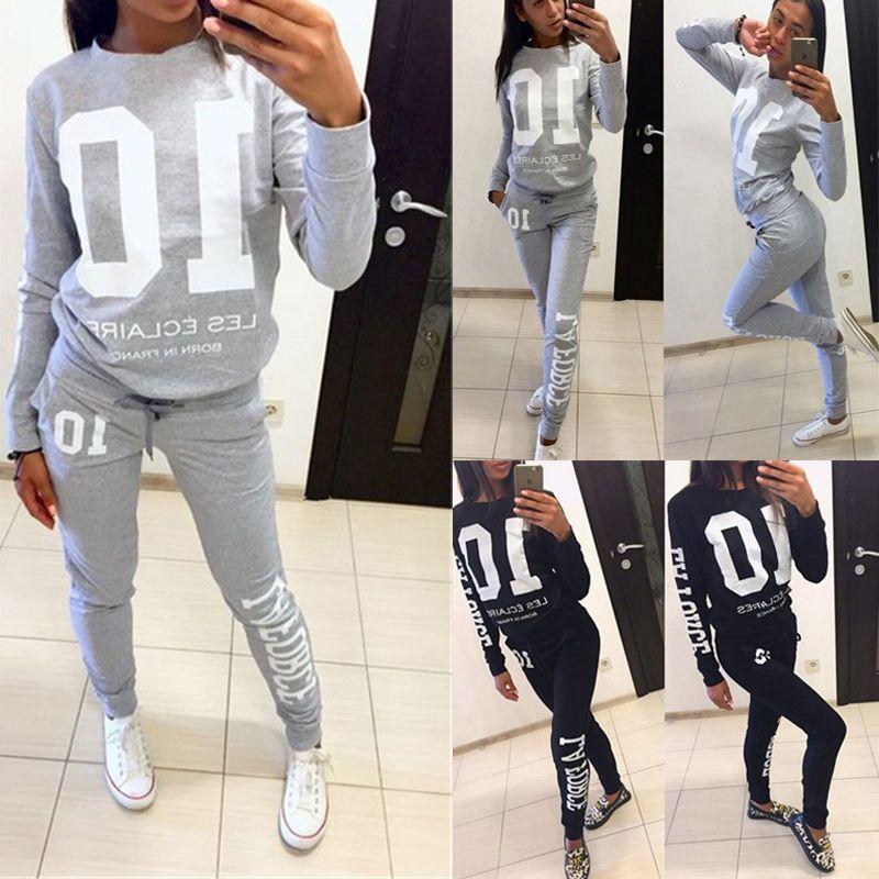 Women 2pcs Hoodies Sweatshirt Tops /& Pants Sets Tracksuit Jogging Gym Sport Suit