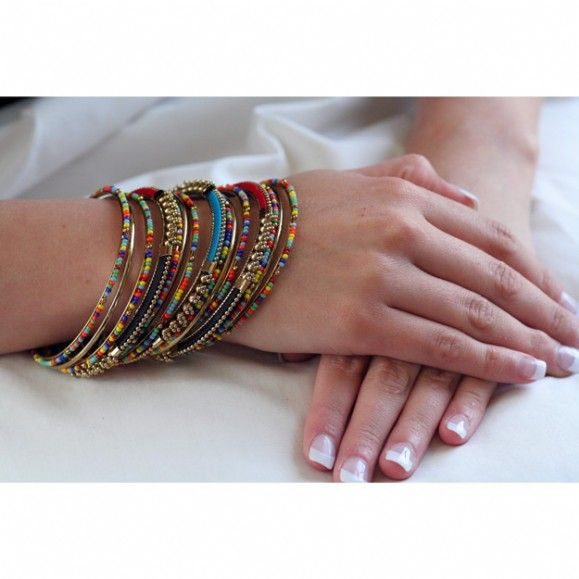 Sharie's Intricate Multicolor Beaded Stacking Bangle Set - Only $44.95 — Fantasy Jewelry Box