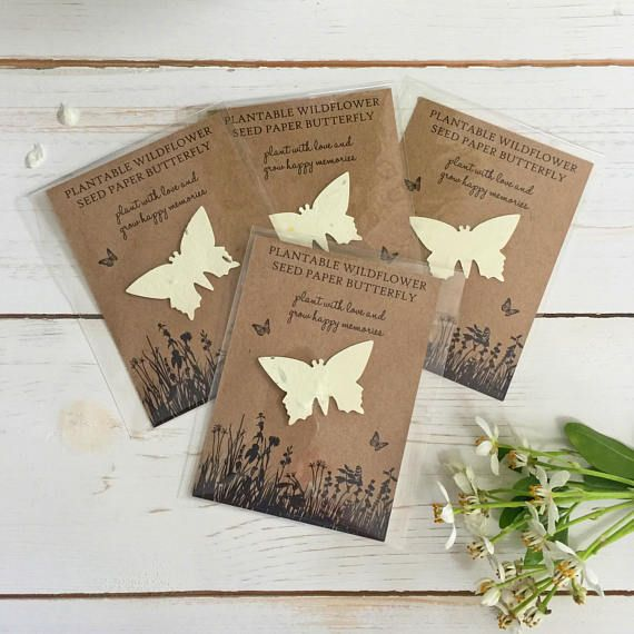 10 Plantable Wildflower Seed Paper Butterfly Favours Funeral Art