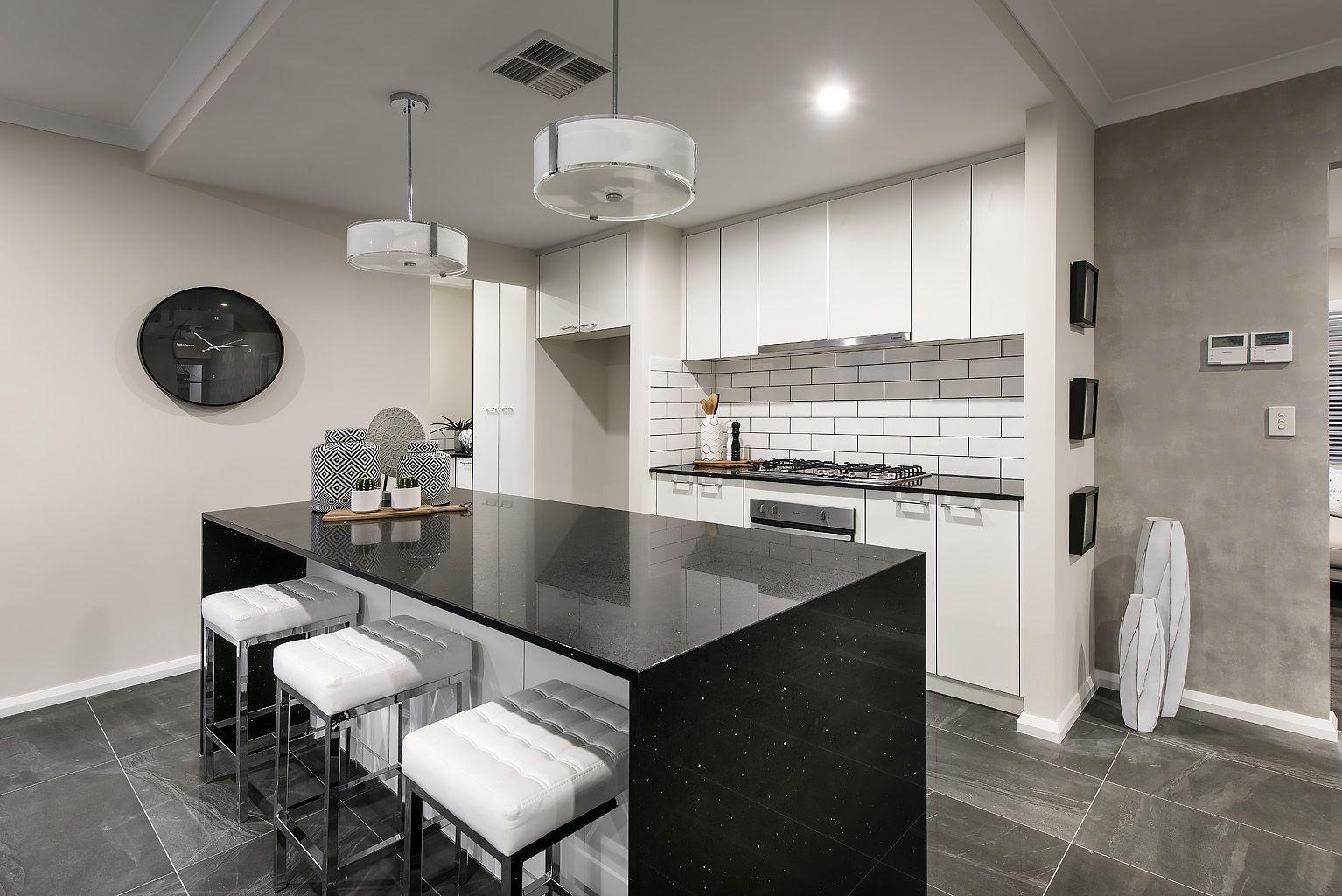 absolute black diamond island bench top with waterfall panels quartz kitchen design kitchen on kitchen island ideas black id=69159