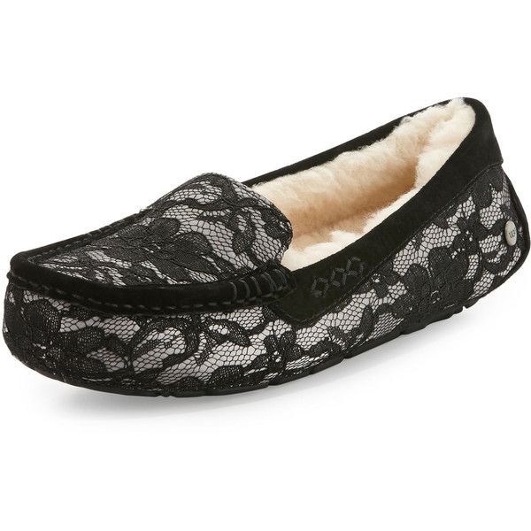 UGG Ansley Antoinette Lace Slipper ($130) ❤ liked on Polyvore featuring shoes, slippers
