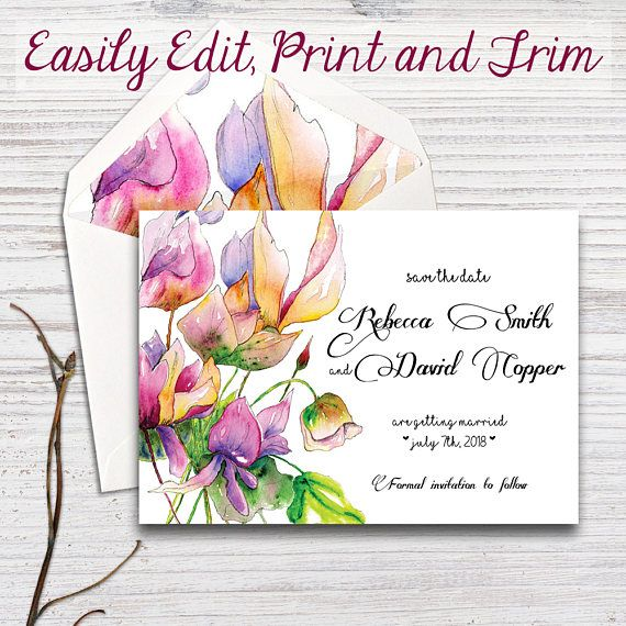 Save the date template Spring Flowers set Edit Yourself My Etsy - save the date template