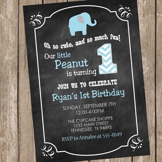 Elephant Birthday Invitation Chalkboard Invitation Boy Elephant