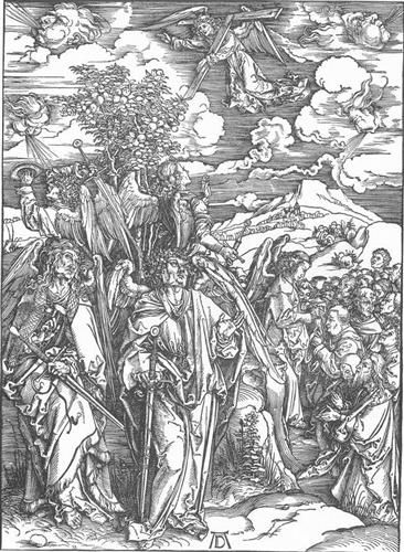 The Revelation of St John: 6. Four Angels Staying the Winds and Signing the Chosen. Durer. 1497-1498. Woodcut.  39 x 28 cm. Staatliche Kunsthalle. Karlsruhe.