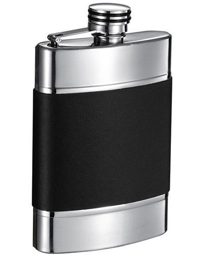 Visol Wickeln 6 oz Black Leather and Brushed Metal Hip Flask