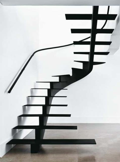 Enboms trapp svängd svart lätt