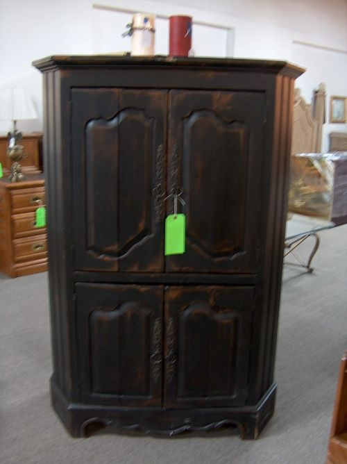 Habersham Plantation Custom Finished Black Distressed Pine Corner Armoire.  $275.00
