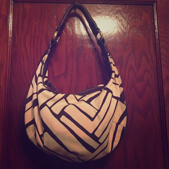 Cole Haan Shoulder Bag Brown and cream geometric pattern with leather details. Very sturdy leather shoulder strap with braided design. Brown linen interior. Great summer bag! Cole Haan Bags Shoulder Bags