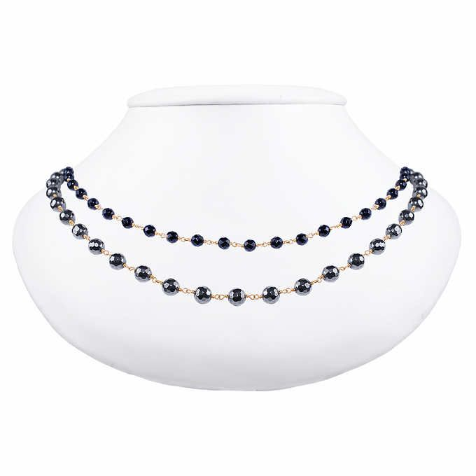 fcd6e8886b74b3 Hematite and Black Onyx 14kt Yellow Gold Necklace   Clothing ...