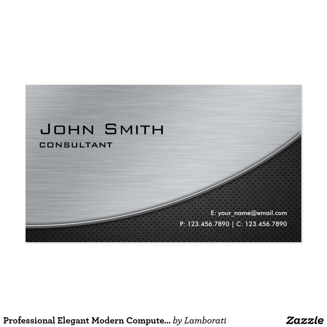 Professional elegant modern computer repair silver business card professional elegant modern computer repair silver business card magicingreecefo Images