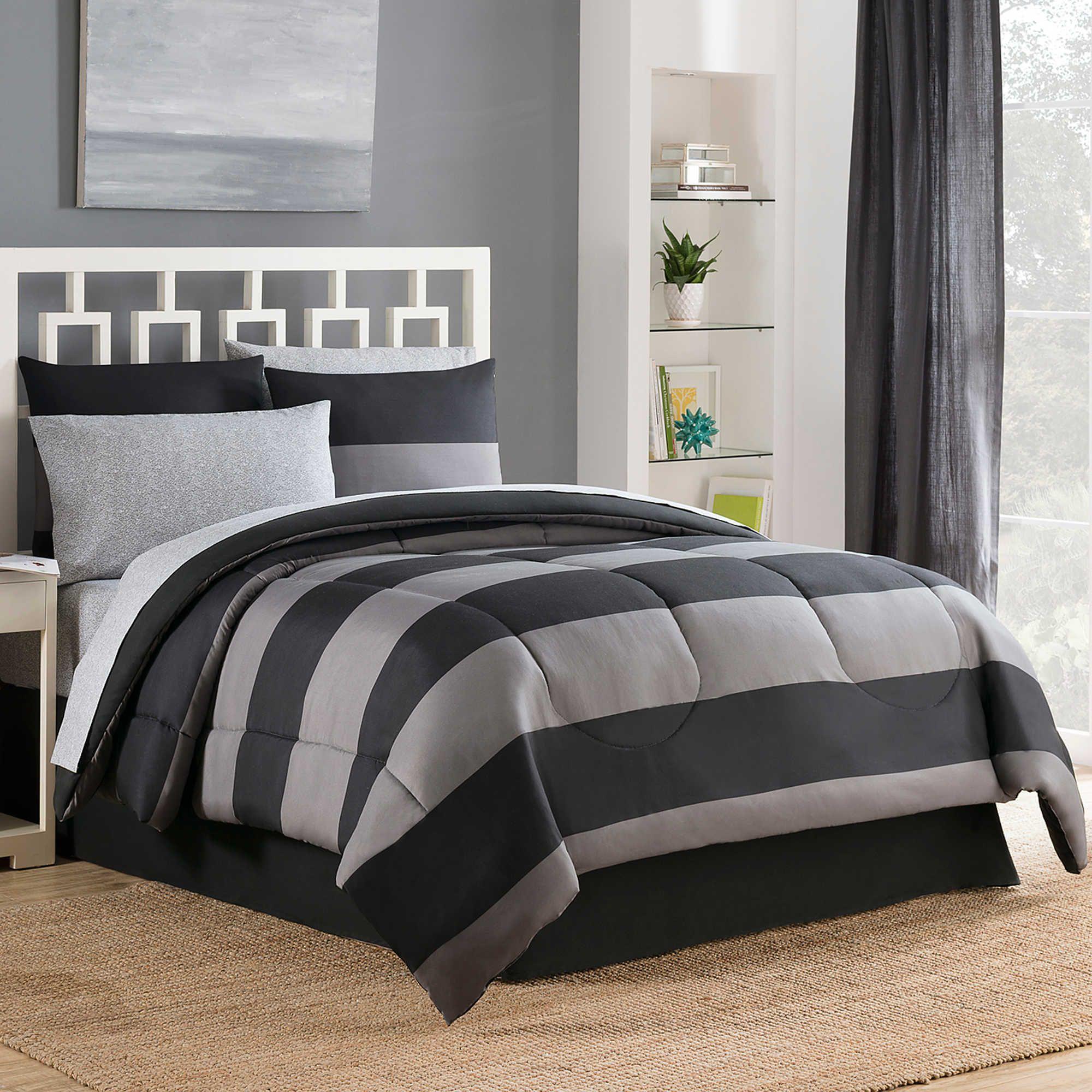 Bryce Reversible 6 8 Piece Comforter Set In Black