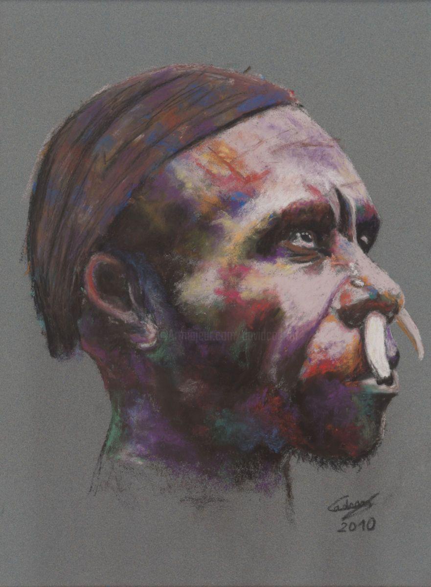 Aborig Ne D Australie Pastel Sec Peinture 20×30 Cm 2010 Par