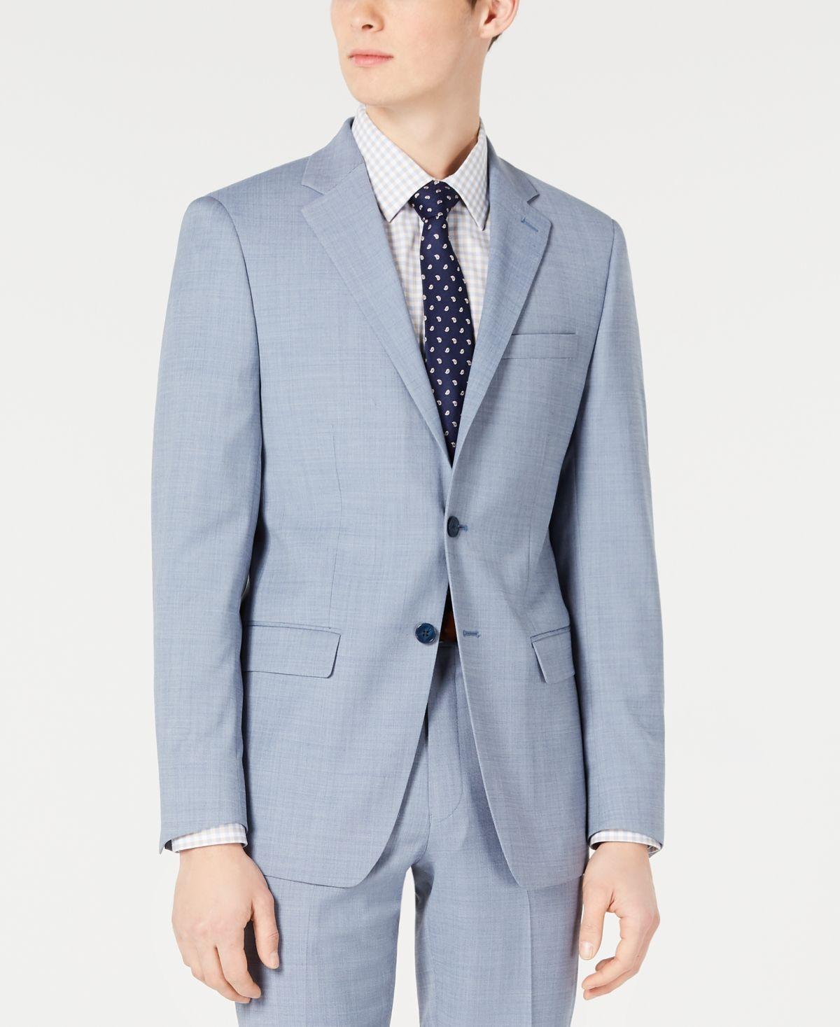 best united kingdom good Calvin Klein Men's X-Fit Slim-Fit Light Blue Sharkskin Suit Jacket ...