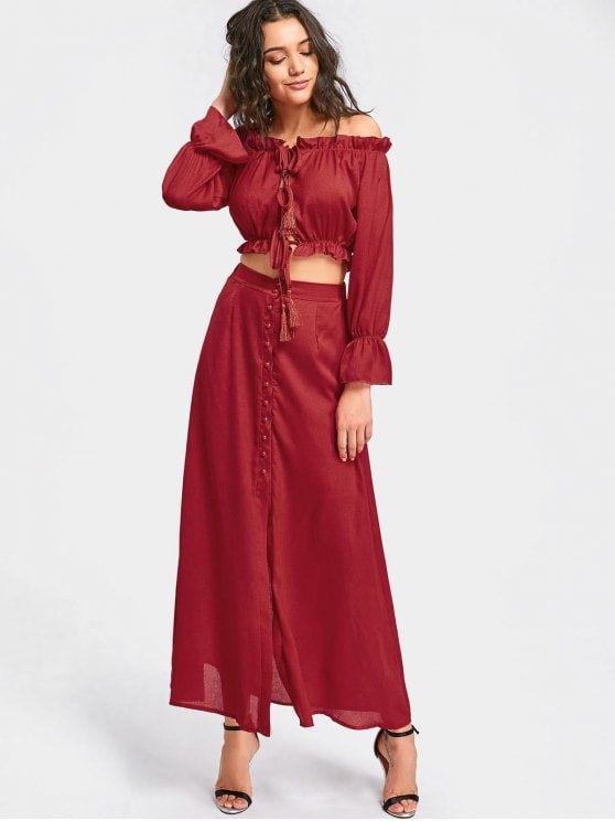 356f5b403306 Ruffled Crop Top and Maxi Skirt Set - DEEP RED S | Elegant fashion ...