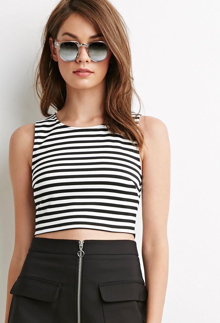 00b3677dcfdbc0 Striped Zipper-Back Crop Top. Striped Zipper-Back Crop Top Belly Shirts ...
