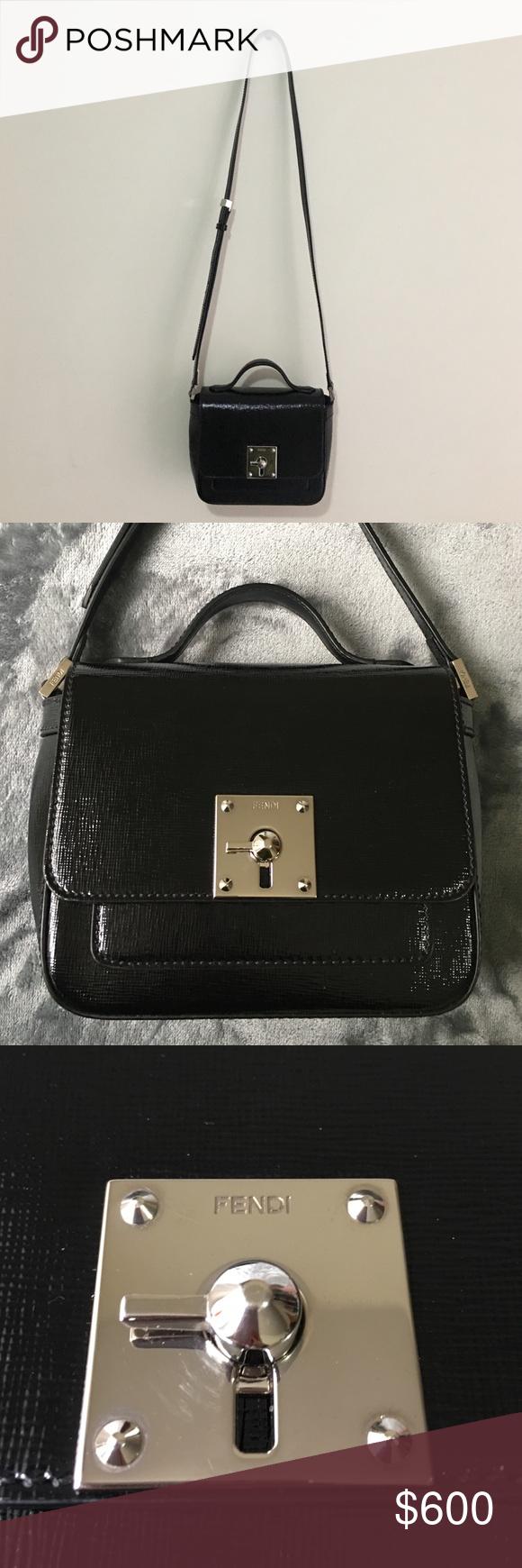 6fcf80c4ac1218 Fendi Mini Borsa Leather Crossbody Bag Fendi Mini Borsa Leather Crossbody  Bag. Stamped leather with