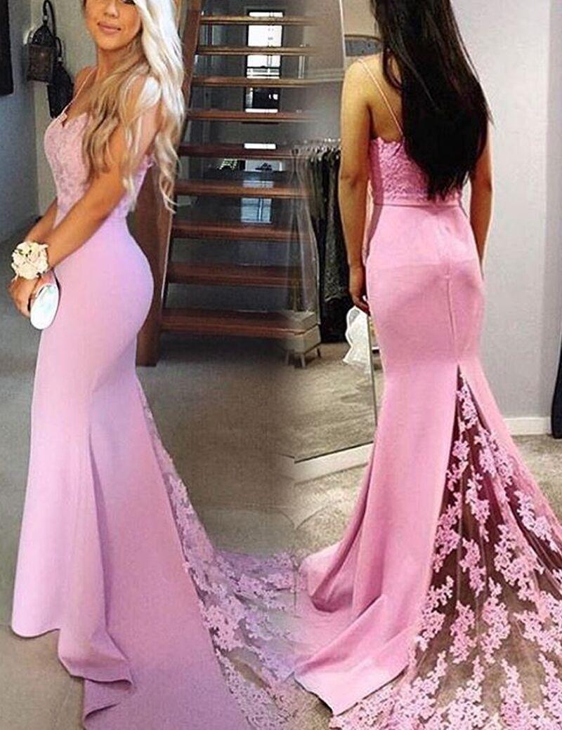 Gorgeous pink sweetheart prom dress mermaid formal gown with lace
