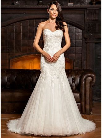 Trumpet/Mermaid Sweetheart Sweep Train Tulle Lace Wedding Dress - MADE TO ORDER