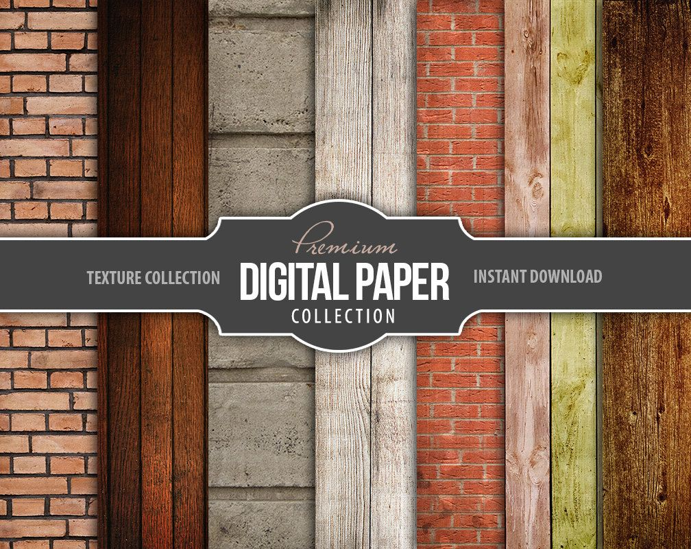 Scrapbook paper as wallpaper - Wood Texture Digital Scrapbook Paper Brick And Wood Background Wallpaper Digital Papers High Resolution Printable Instant Download