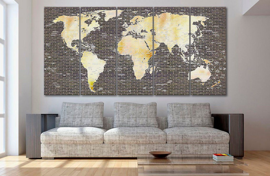 Pin on World Map Canvas