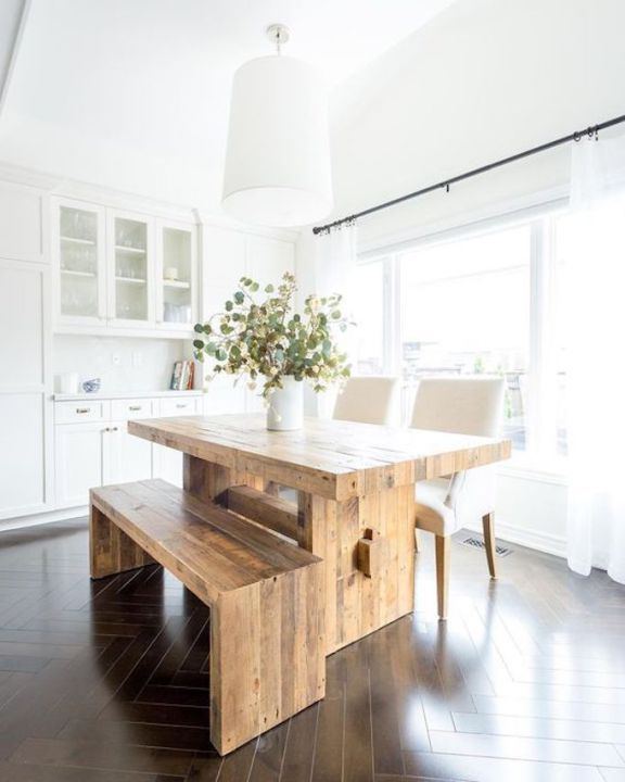 50 Modern Farmhouse Dining Room Decor Ideas 35: Design Trend 2018: Mixed Wood TonesBECKI OWENS
