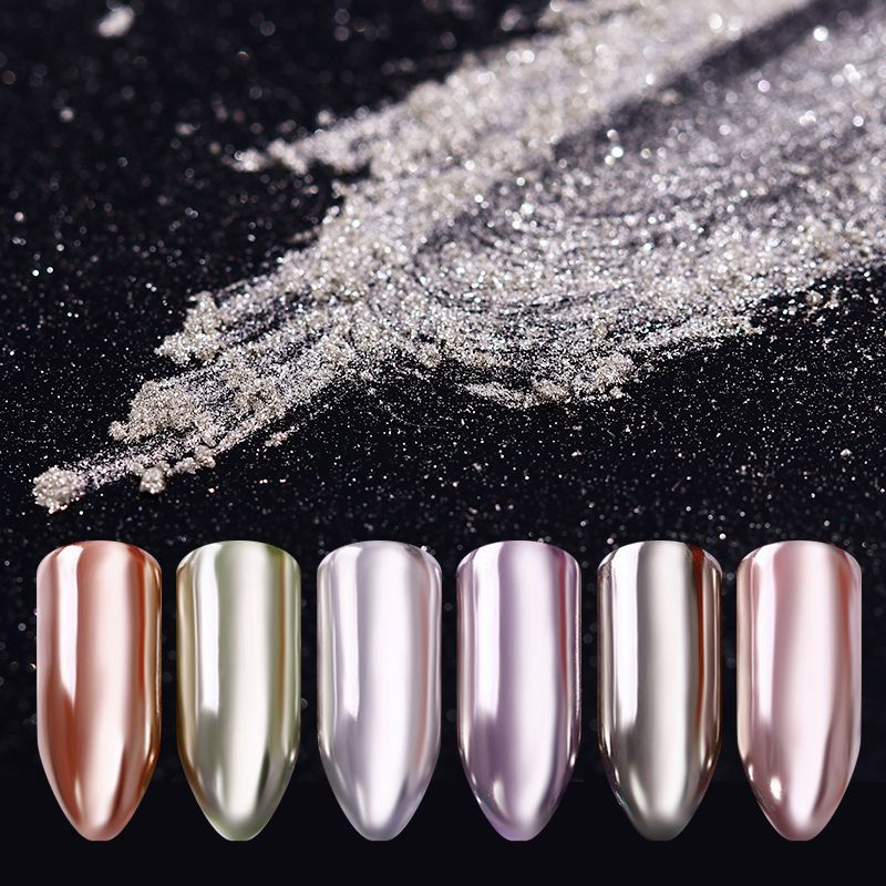 Silver Mirror Nail Powder Shimmer Nail Art Chrome Pigment Manicure ...