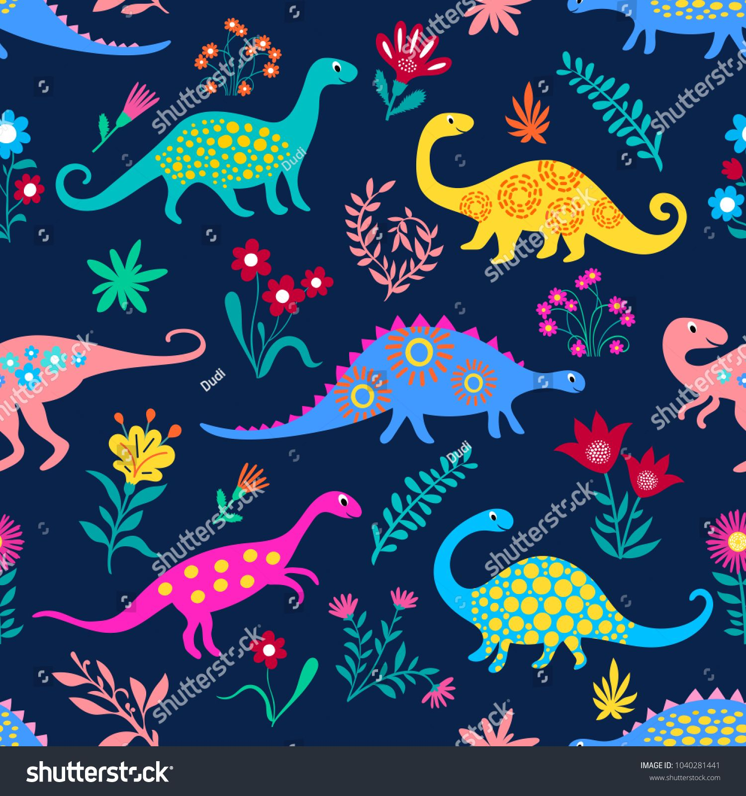 Dinosaurs Cute Kids Pattern For Girls And Boys Colorful Cartoon
