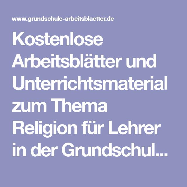 Kostenlose Arbeitsblätter und Unterrichtsmaterial zum Thema Religion ...