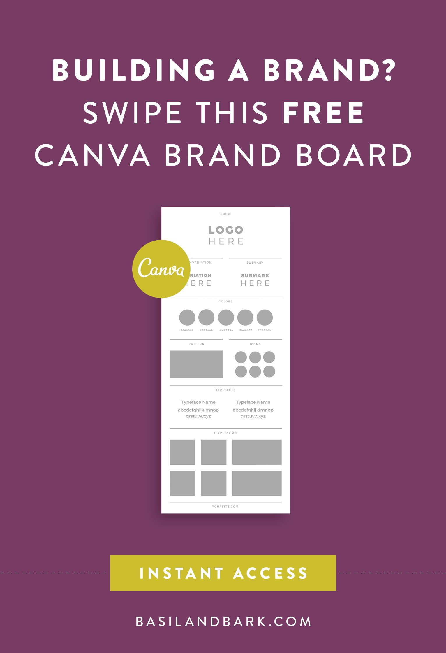 Building A Brand Swipe This Free Brand Board Template In Canva So You Can Start Creating A Set Of Brand Board Template Brand Board Marketing Strategy Template