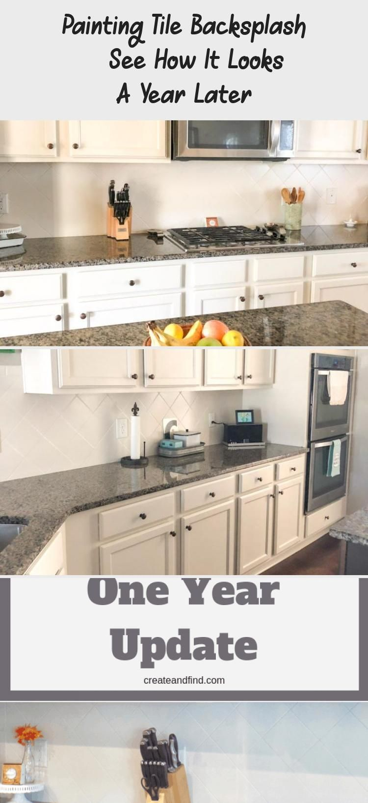 Painting Tile Backsplash See How It Looks A Year Later Kitchen Tiles Latest Kitchen Designs Painting Tile Backsplash