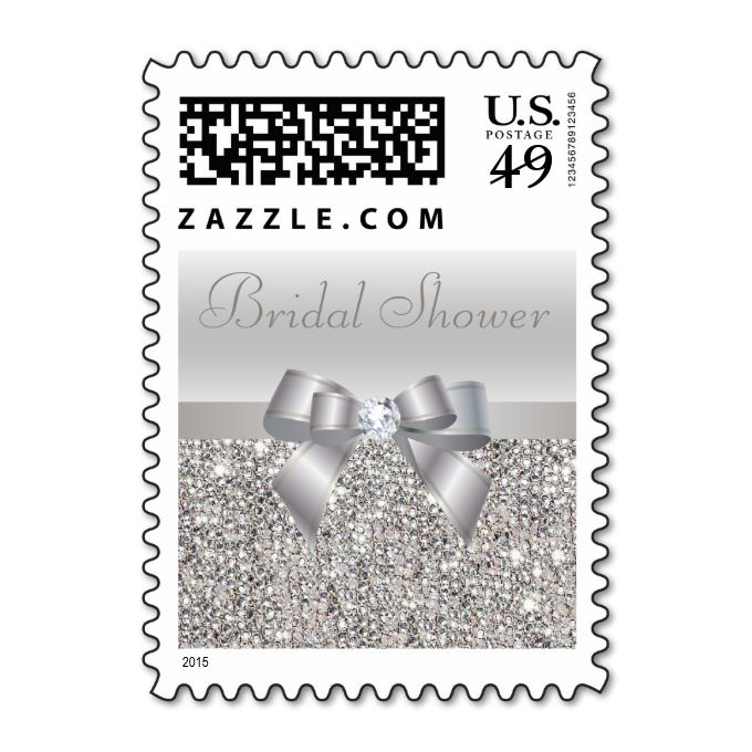 Silver Sequins, Bow and Diamond Bridal Shower Postage Stamps