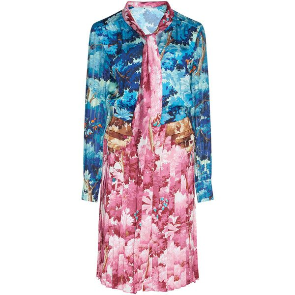 Marco de Vincenzo Printed Sequin Dress (31.140 ARS) ❤ liked on Polyvore featuring dresses, blue, pink necktie, pink sequin dress, neck tie dress, pink dress and sequin embellished dress