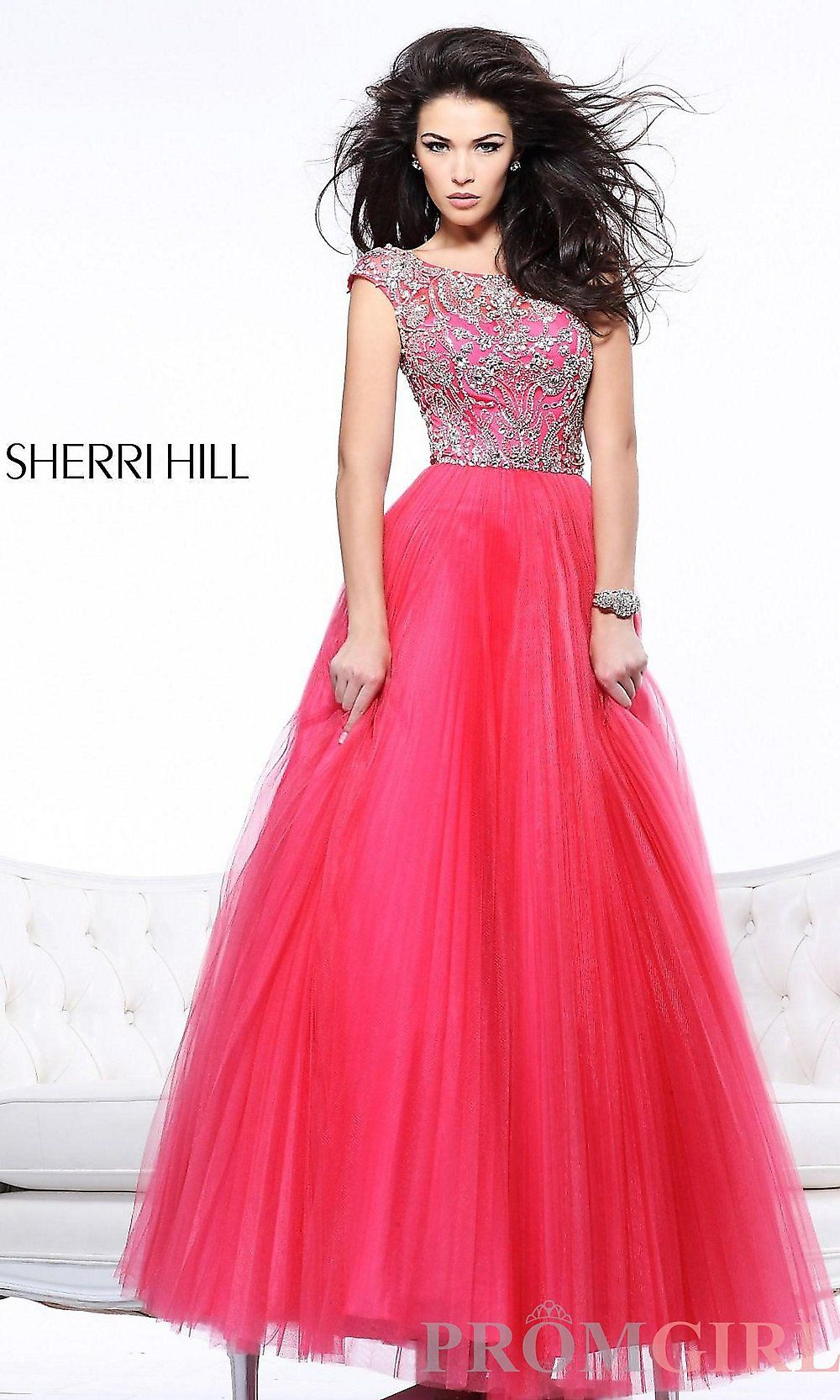 Sherri hill beaded ball gown cap sleeve ball gowns promgirl prom