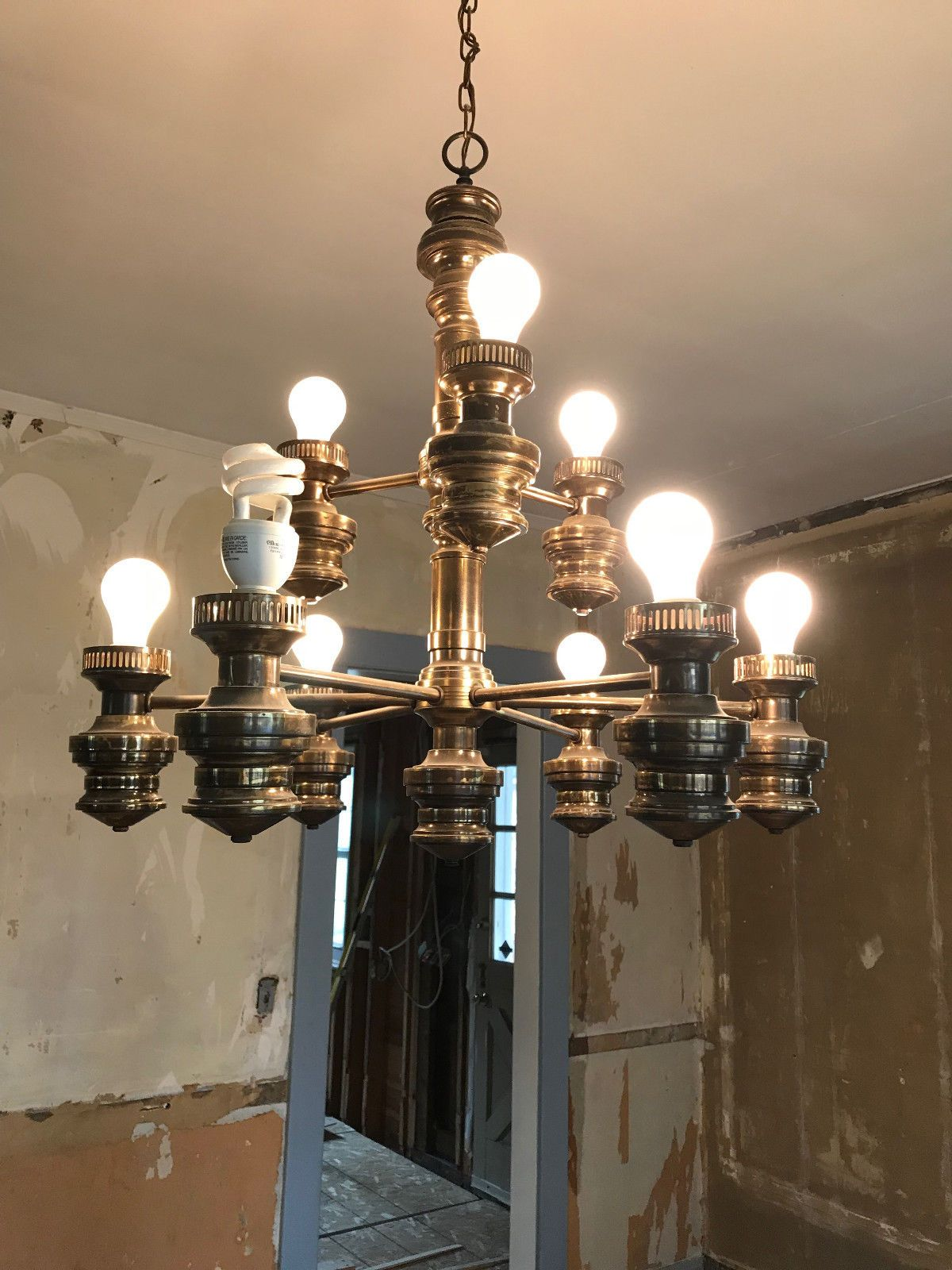 Large vintage brass antique chandelier ebay lighting pinterest large vintage brass antique chandelier ebay arubaitofo Image collections