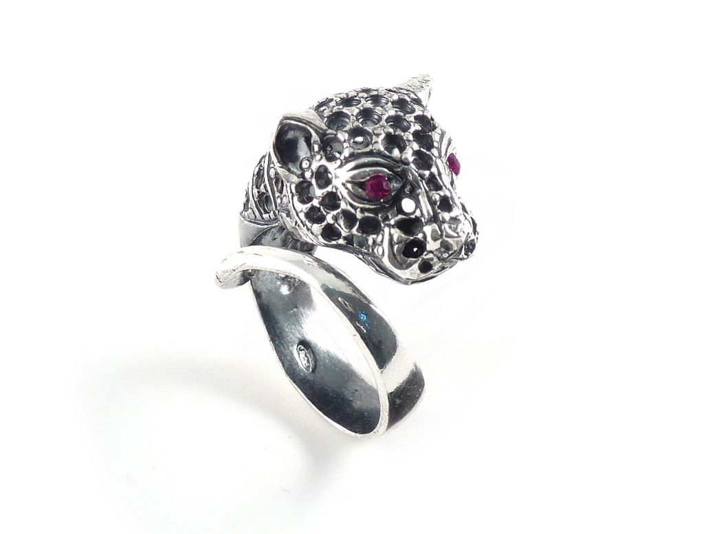 Iosselliani Silver Panther ring with rubies