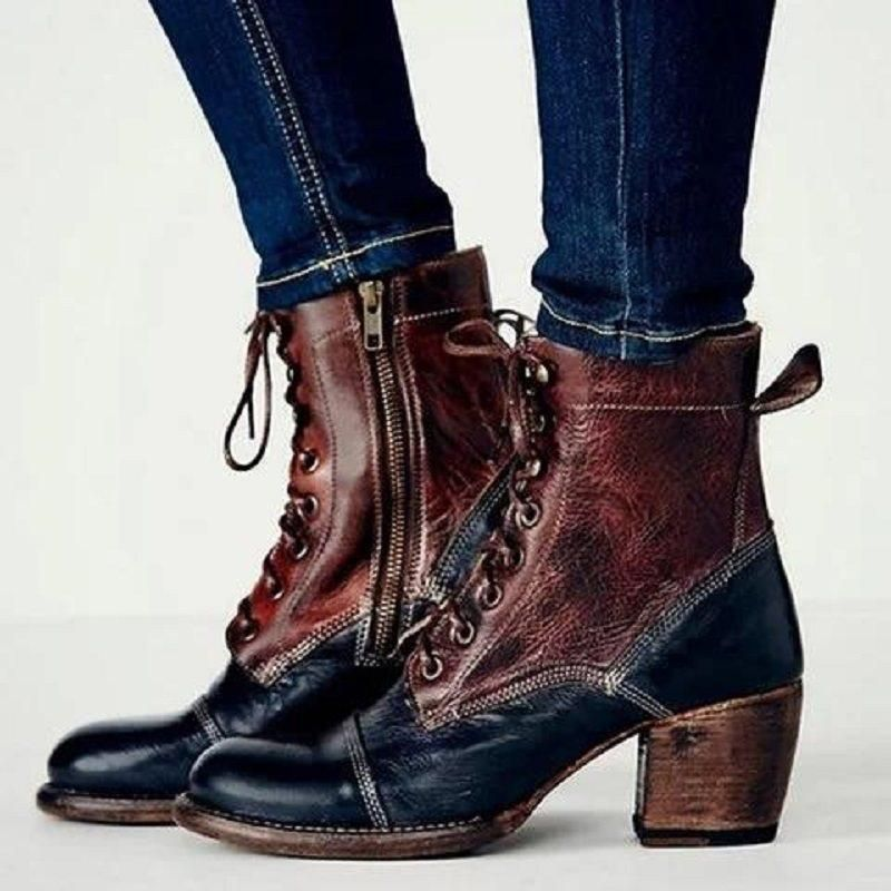 fcb9f4f307c SIDE ZIPPER BLOCK HEEL COLOR BLOCK ROUND TOE VINTAGE BOOTS  Vintage Boots   Ankle Boots  Leatrend