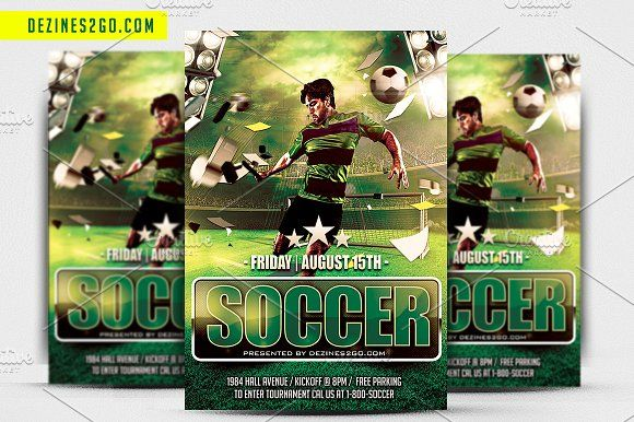 Soccer Game Flyer Template by Dezines2go on @creativemarket