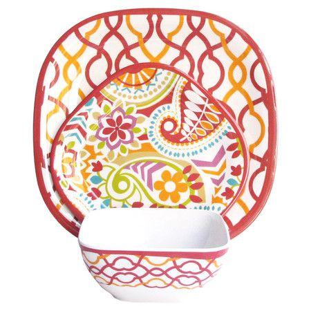 12 Piece Waves Dinnerware Set in Sorbet