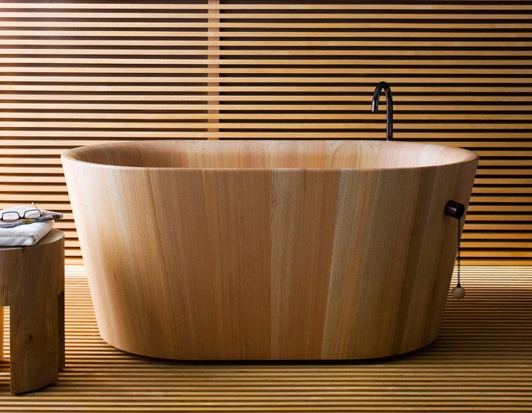 Almost Genius A Toilet And Sink That Disappear From View Co Design Wood Tub Wooden Bathtub Wood Bathtub Japanese style bathroom wood slabs