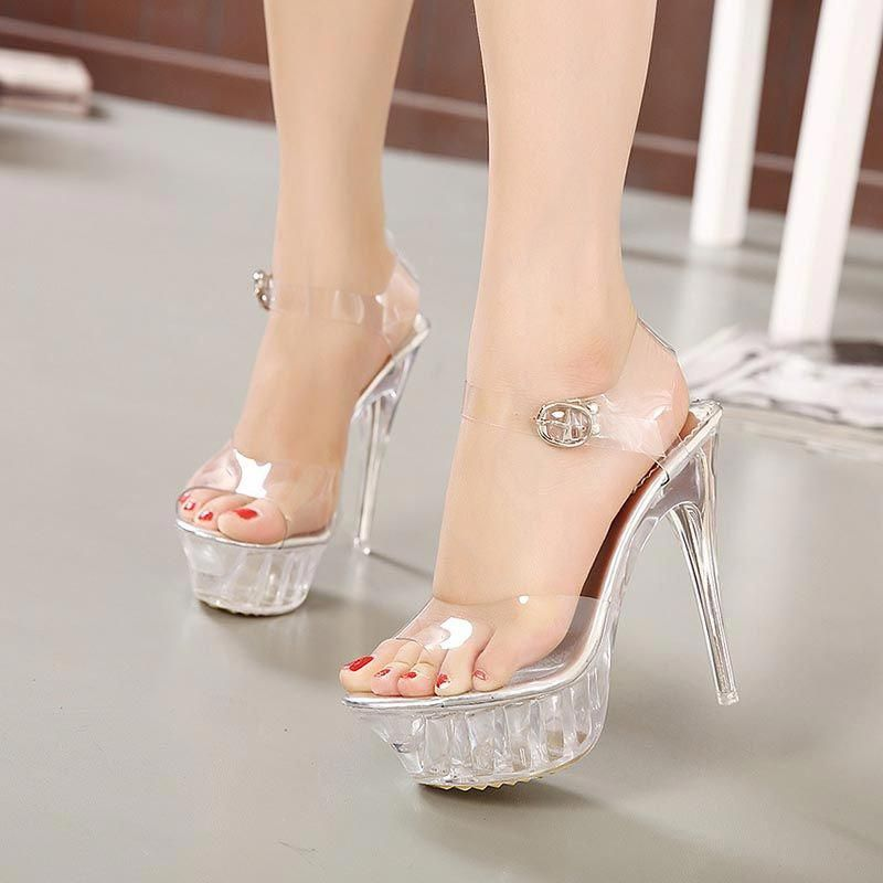 65cc906567c Silver Platform Ankle Strap Jelly Sexy High Heels  Promheels