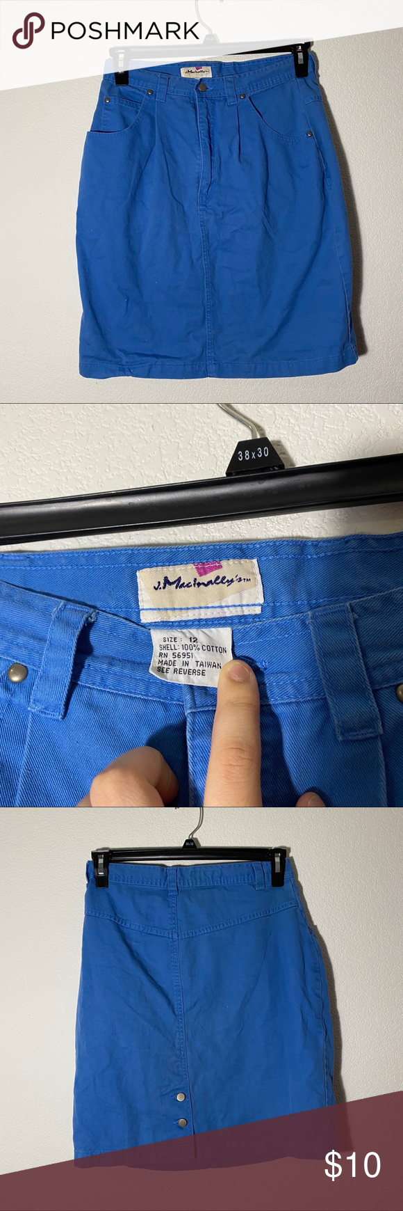 """Photo of midi jean skirt great for that vintage look :) says its a """"12"""" but it fits m…"""