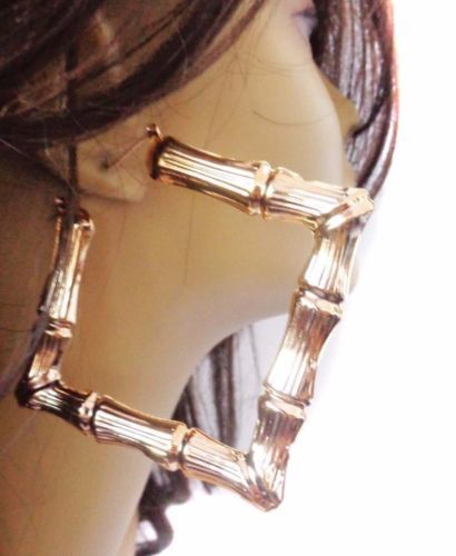 Large Hoop Earrings Square Bamboo 4 Inch Hoops Gold Or Silver Tone