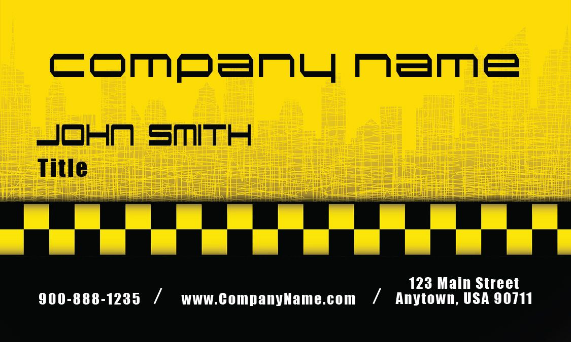 Licensed Cap Driver Yellow Taxi Business Card Design 501191 Business Card Design Business Cards Name Card Design
