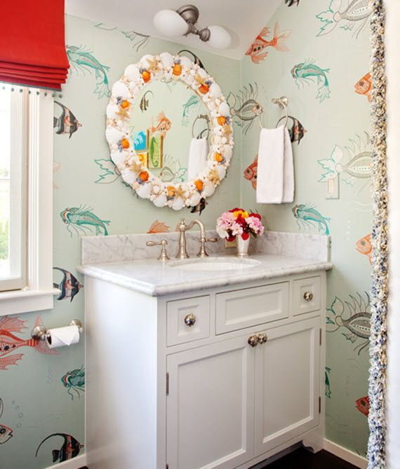 . Fish patterned wallpaper in kids  bathroom    House of Ruby