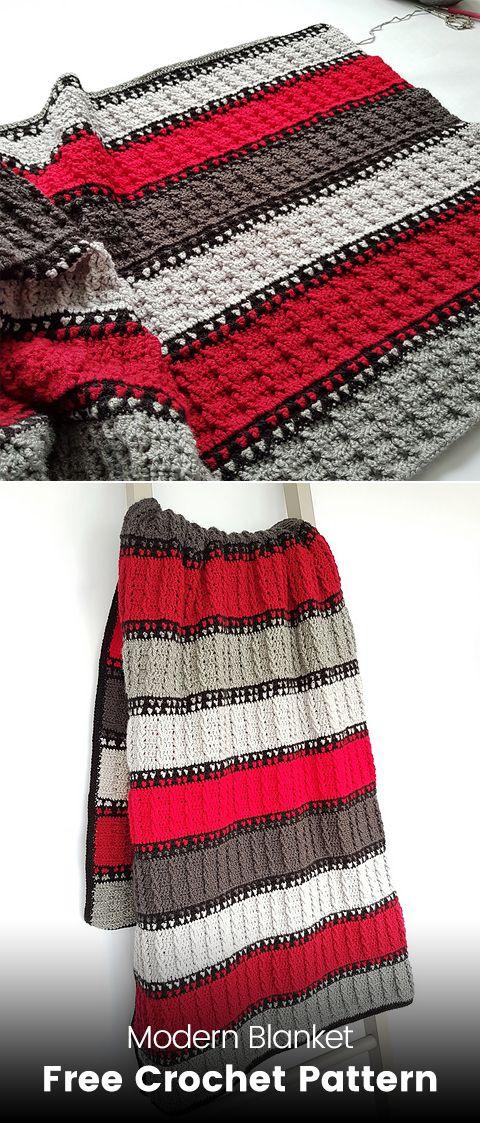 Modern Blanket Free Crochet Pattern #crochet #crafts #homedecor ...
