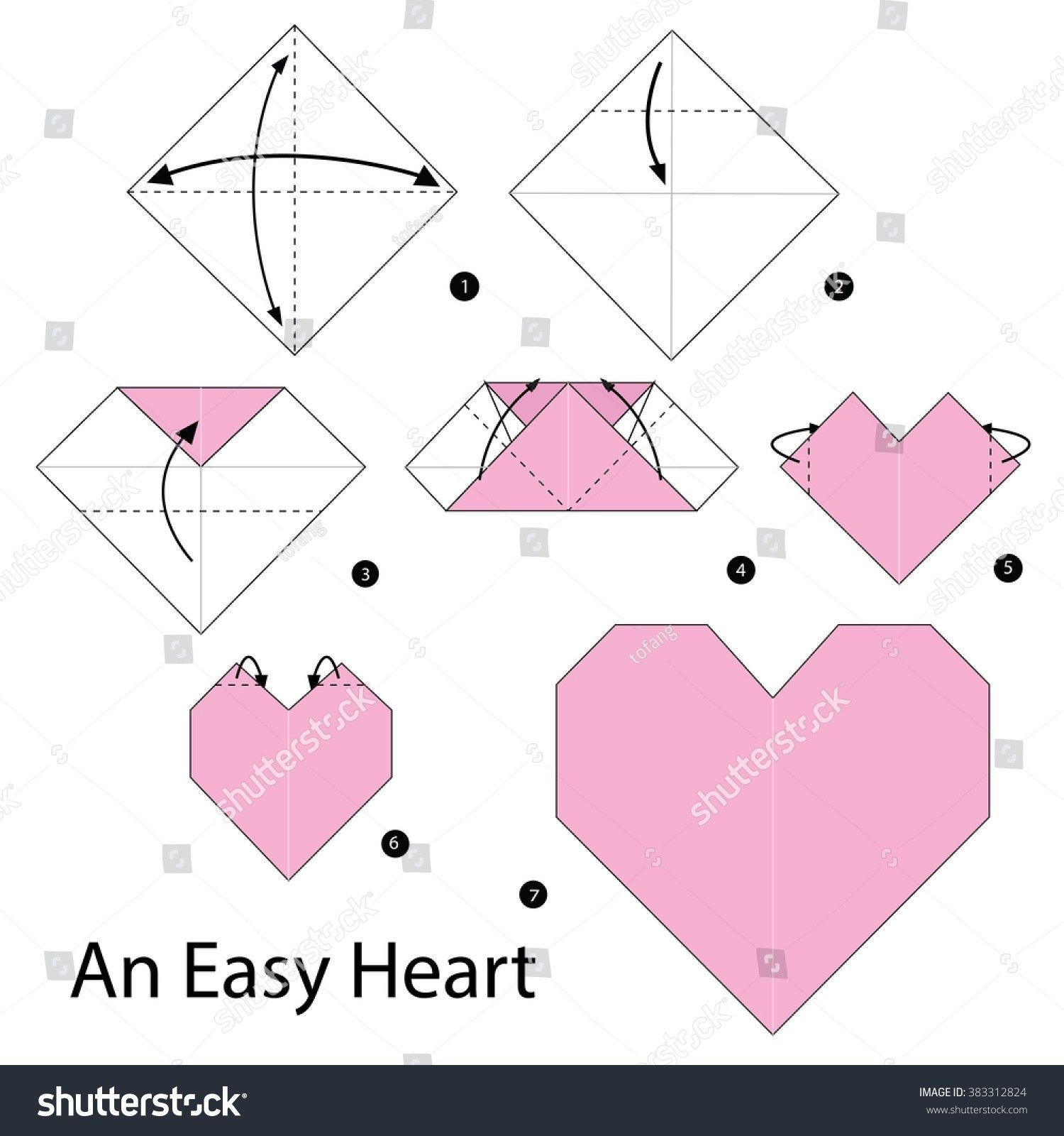 Step by step instructions how to make origami. An Easy Heart ... | 1600x1500